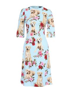 Dolce & Gabbana   Приталенное Платье С Принтом И Укороченным Рукавом