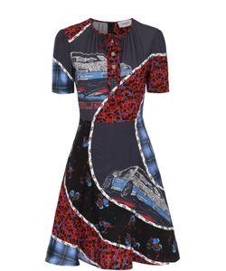 COACH | Приталенное Шелковое Мини-Платье С Контрастным Принтом