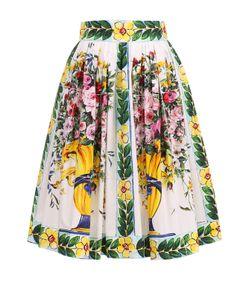 Dolce & Gabbana | Хлопковая Юбка-Миди С Ярким Принтом