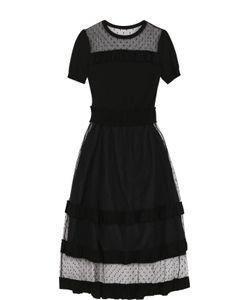 Red Valentino | Приталенное Платье-Миди С Кружевными Вставками