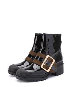 Burberry | Лаковые Ботинки С Широким Ремешком