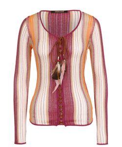 Roberto Cavalli | Облегающий Пуловер Фактурной Вязки С Декоративной Отделкой
