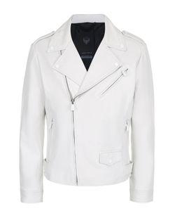 Frankie Morello | Кожаная Куртка С Косой Молнией И Декоративной Отделкой
