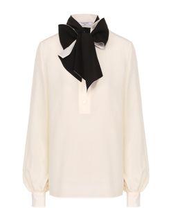 Lanvin | Шелковая Блуза С Накладными Карманами И Воротником-Стойкой