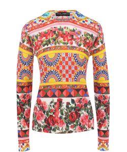 Dolce & Gabbana | Шелковый Пуловер С Круглым Вырезом И Ярким Принтом
