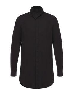 Rick Owens | Удлиненная Хлопковая Рубашка С Воротником-Стойкой