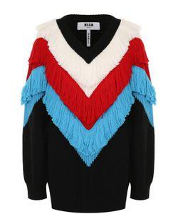 MSGM | Пуловер С V-Образным Вырезом И Яркой Бахромой