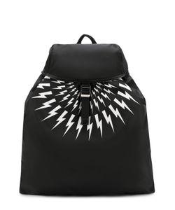 Neil Barrett | Текстильный Рюкзак С Принтом И Отделкой Из Натуральной Кожи