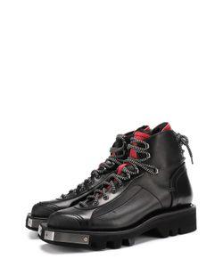 Dsquared2   Кожаные Ботинки С Металлической Отделкой На Шнуровке