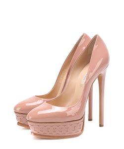 Casadei | Лаковые Туфли На Шпильке И Платформе С Декором