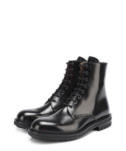 Alexander McQueen | Высокие Кожаные Ботинки На Шнуровке С Круглым Мысом