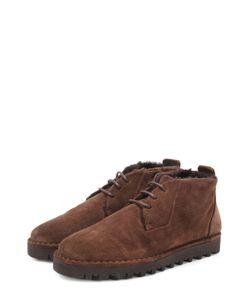 Giorgio Armani | Замшевые Ботинки На Шнуровке С Внутренней Меховой Отделкой