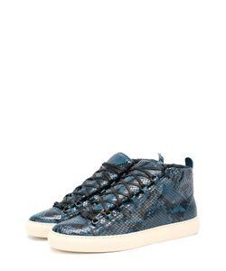 Balenciaga | Высокие Кожаные Кроссовки С Тиснением Под Питона