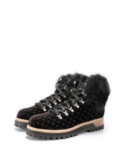 Le Silla | Бархатные Стеганые Ботинки На Шнуровке