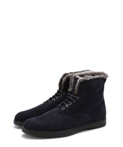 Santoni | Высокие Замшевые Ботинки На Шнуровке С Внутренней Меховой Отделкой