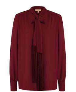Michael Kors | Шелковая Блуза С Воротником Аскот И Бахромой