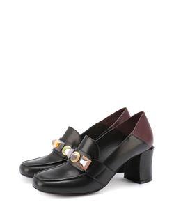 Fendi | Кожаные Туфли С Декорированной Перемычкой