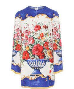Dolce & Gabbana   Шелковый Топ С Длинным Рукавом И Ярким Принтом