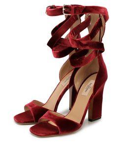 Valentino | Бархатные Босоножки Plum С Ремешками На Щиколотке
