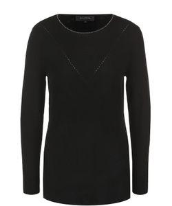 St. John | Кашемировый Пуловер Со Стразами И Круглым Вырезом