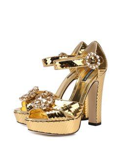 Dolce & Gabbana | Босоножки Из Металлизированной Кожи С Кристаллами