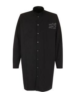 Isabel Benenato | Удлиненная Хлопковая Рубашка С Воротником-Стойкой