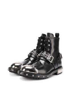 Alexander McQueen | Высокие Кожаные Ботинки На Шнуровке С Металлической Отделкой Мыса