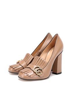 Gucci | Кожаные Туфли Marmont С Бахромой И Пряжкой
