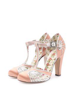 Gucci | Атласные Туфли С Вставками Из Металлизированной Кожи