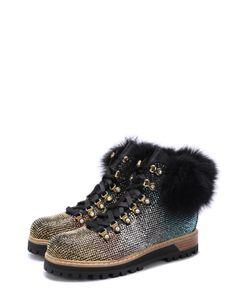 Le Silla | Кожаные Ботинки С Отделкой Стразами И Мехом