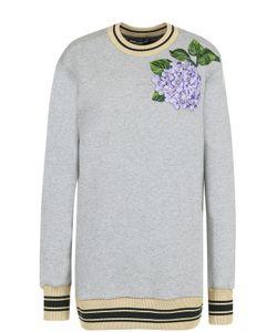 Dolce & Gabbana | Удлиненный Свитшот С Цветочной Вышивкой