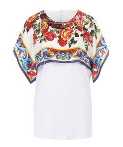 Dolce & Gabbana   Хлопковый Топ С Шелковым Принтованным Кейпом