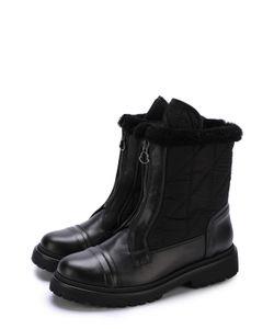 Moncler | Кожаные Утепленные Ботинки С Текстильной Отделкой
