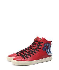 Gucci | Высокие Кожаные Кеды На Шнуровке С Контрастной Аппликацией
