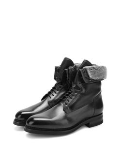 Santoni | Высокие Кожаные Ботинки На Шнуровке С Внутренней Меховой Отделкой