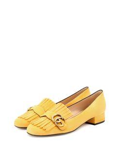 Gucci | Замшевые Туфли Marmont С Бахромой И Пряжкой