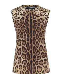 Dolce & Gabbana | Шерстяной Топ С Леопардовым Принтом