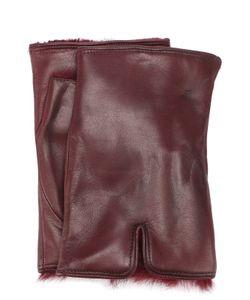 Sermoneta Gloves | Кожаные Митенки С Меховой Подкладкой