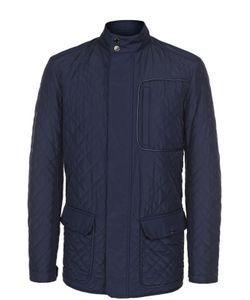 Pal Zileri | Утепленная Стеганая Куртка На Молнии С Отделкой Из Натуральной Кожи Pal
