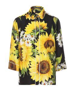 Dolce & Gabbana | Шелковая Блуза С Цветочным Принтом И Укороченным Рукавом
