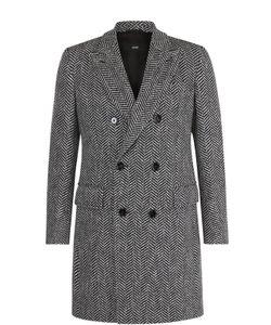 BOSS | Двубортное Шерстяное Пальто С Отложным Воротником