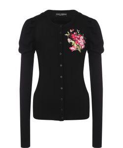 Dolce & Gabbana | Шерстяной Кардиган С Цветочной Вышивкой