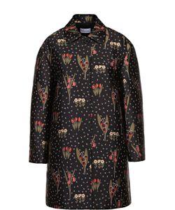 Red Valentino | Пальто Свободного Кроя С Контрастным Цветочным Принтом Valentino
