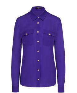 Balmain | Шелковая Блуза С Накладными Карманами И Контрастными Пуговицами