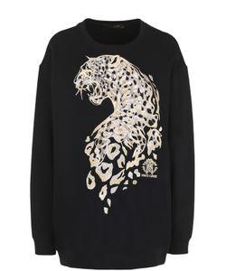 Roberto Cavalli   Удлиненный Свитшот С Вышивкой В Виде Леопарда