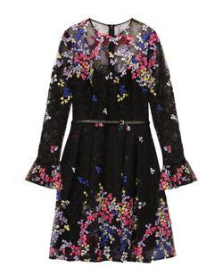 Elie Saab | Приталенное Мини-Платье С Контрастной Цветочной Вышивкой