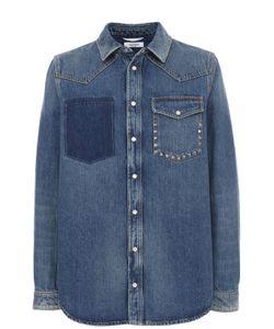 Valentino | Джинсовая Рубашка На Кнопках С Декоративной Отделкой