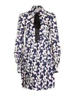 Marc Jacobs | Шелковое Платье С Принтом И Воротником Аскот