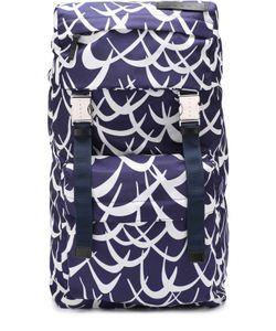 Marni | Текстильный Рюкзак С Принтом Flutter И Отделкой Из Натуральной Кожи