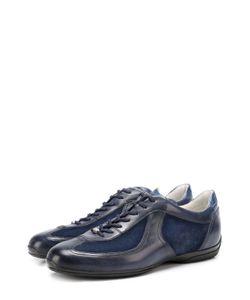 Santoni | Кожаные Кроссовки С Замшевыми Вставками